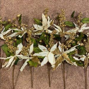 Ivory/ gold glitter poinsettia stems  (set of 10)